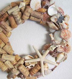 Seashell and Wine Cork Wreath by HomeSweetCoast on Etsy