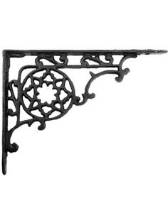 """Pennsylvania Dutch Design Iron Bracket - 6 3/4"""" X 9"""". Cast Iron Shelf Bracket. by B Lamp. $15.39. Inspired by a Pennsylvania Dutch hex sign, this Victorian shelf bracket has a folksy appeal. The charming star design is reproduced in sturdy cast iron and finished with a satin black powder-coat.Dimensions: 6 3/4"""" H x 9"""" L x 7/8"""" W. Bracket includes slotted screws for mounting. When supporting heavy items, longer screws fastened directly into blocking or wall stud..."""