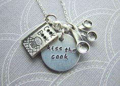 Handstamped Kiss the Cook Necklace, Charm Necklace, Cooking, Stamped Metal, Gift For Her