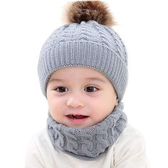 Buy CATSAP Toddler Baby Girl's and Baby Boy's Winter Warm Crochet Knitted Beanie Cap Scarf Warm Set - 0-2 Year (Gray) at Amazon.in Baby Winter Hats, Winter Knit Hats, Bonnet Crochet, Crochet Beanie Hat, Baby Hats Knitting, Knitted Hats, Baby Hut, Cute Toddlers, Girl With Hat