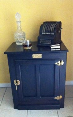 painted icebox | Refurbished furniture - white clad ice box painted black and original ...
