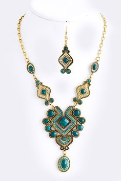 Beaded Metal Ethnic Necklace