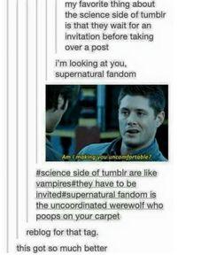 Science side of tumblr vs supernatural fandom