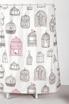 Birdcage Shower Curtain - maybe turn into a regular curtain for office?