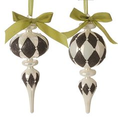 RAZ Imports Natural Elegance Harlequin Black and White Diamond with Gems Christmas Tree Finial Ornaments with Green Hanging Ribbon