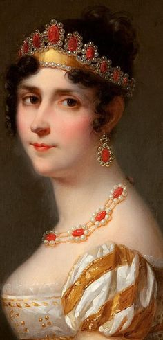 Josephine Bonaparte in a tiara of gold, carnelian cameos and pearls, with matching ear pendants and necklace Napoleon Josephine, Empress Josephine, Royal Jewels, Crown Jewels, French History, Art History, Regency Era, Coral Jewelry, Empire Style