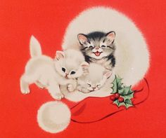 #retrochristmas, #babyangel, Vintage Christmas Card, Retro Christmas Card,  #christmaskittens, 50's Christmas Card