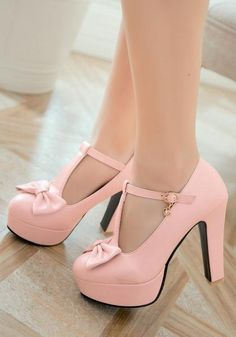 48212c95282 Pink Round Toe Chunky Bow Sweet Buckle High-Heeled Shoes