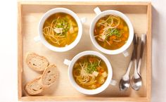 Lunch/Dinner: Epicure's Ultimate Chicken Noodle Soup calories/serving) serve with bread and side salad Epicure Recipes, Lunch Recipes, Healthy Recipes, Clean Eating Chicken, How To Cook Chicken, Lunch Menu, Dinner Menu, Whole Wheat Rolls, Meat Rubs