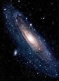 The Andromeda Galaxy (M31) is the closest large galaxy to the Milky Way and is one only ten galaxies that can be seen unaided from the Earth. In approximately 4.5 billion years the Andromeda Galaxy and the Milky Way are expected to collide. It is accompanied by at least 10 satellite galaxies the most notable of which is the Triangulum Galaxy.