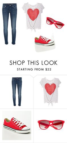 """""""Red<3"""" by karina-bm ❤ liked on Polyvore featuring 7 For All Mankind, Converse and MANGO"""