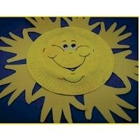 Paper Plate Handprint Sunshine Craft to celebrate the start of summer. freekidscrafts.com