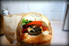 The most amazing veggie burger! Mushroom stuffed with cheese and then deep fried.  From Burger's Priest, Toronto