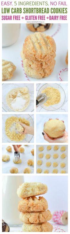 Low Carb Shortbread cookies - Easy 4-ingredients Almond flour shortbread cookies 100% Sugar free, grain free, vegan and gluten free ! Perfect low carb cookies for the holidays #lowcarbcookies #cookies #christmascookies #almondflour