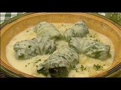 Töltött kelkáposzta, krumplifőzelék - Laci bácsi konyhája - YouTube Cabbages, Italy, Chicken, Meat, Youtube, Food, Italia, Eten, Cabbage