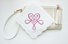 Heart shaped Monogram, Valentine's Day Handkerchief, Wedding Monogrammed Handkerchief, Hemstitched Edge Embroidered Handkerchief