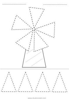 Triangle concept worksheet and windmill triangle geometric . Handwriting Worksheets For Kids, Tracing Worksheets, Kindergarten Worksheets, Art Drawings For Kids, Drawing For Kids, Preschool Writing, Preschool Activities, Colors For Toddlers, Triangle Worksheet