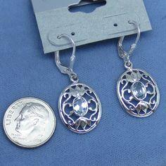Genuine Sky Blue Topaz Earrings Leverback Filigree Sterling Silver 171101 FancyD - Genuine Gemstone