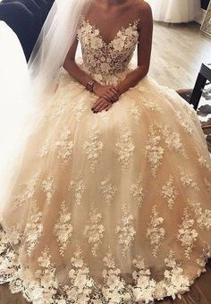 3D Floral Lace Ball Gown Wedding Dresses,Bridal Wedding Gowns,apd2396