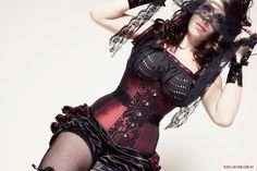 Burgundy & Black Period Inspired Saloon Girl Corset