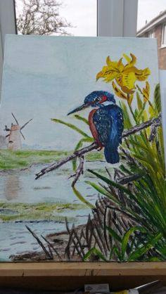 Kingfisher .. oils on watercolour