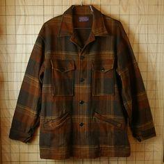 【PENDLETON】USA製70sビンテージ古着ブラウン長袖メンズチェックウールシャツ ウールジャケット メンズM