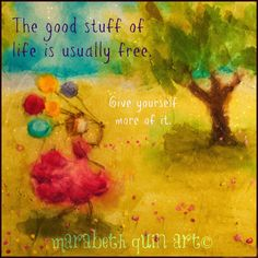 "10x10 print ""Good Stuff"" of whimsical, happy and colorful girl with balloons artwork by Marabeth Quin"