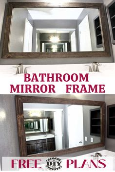 Are you wanting learn how to frame a bathroom mirror but can't figure out how to do? I've built a DIY rustic bathroom mirror frame around the existing mirror. How to quickly and easily frame a bathroom mirror, to take your bathroom from builder-grade to completely custom in just a few hours. #bathroomproject #diy #mirrorframe #freeplans