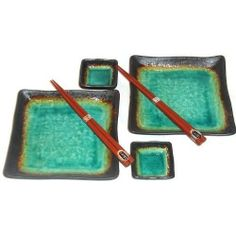 Japanese Kosui Turquoise Green Square Six Piece Sushi Plate Set for Two by Japan. $39.99. Not intended for use in the microwave. Each Large Plate Measures 7 Inches Square and is Glazed for food safety. Coordinates with other Kosui Dishware. Beautiful Turquoise Glaze This Set includes Two Plates, two square sauce dishes 2 3/4 Inches and two 9 Inch Japanese Chopsticks Hand Crafted in Japan. Kosui Square sushi serving set for two person.