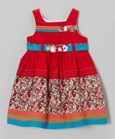 Look what I found on #zulily! Red & Blue Floral Sash Dress - Infant, Toddler & Girls #zulilyfinds