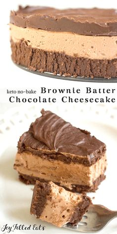 Keto Low Carb Gluten Free Sugar Free THM S Chocolate Cheesecake! With layers of a brownie batter flavored base, luscious chocolate cheesecake, and a topping of chocolate ganache this No-Bake Chocolate Cheesecake Recipe is any chocolate lovers dream.