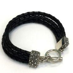 a033b0216 Michael Dawkins Michael Dawkins Black Braided Leather Multi Strand Bracelet  Sterling Toggle 7 1/4