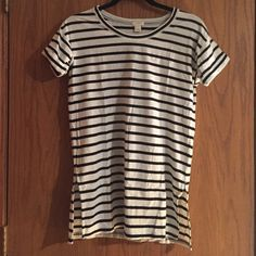 J. Crew Striped T-Shirt Tunic Striped t-shirt tunic with slitted sides. J. Crew Tops