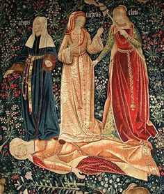 The Triumph of Death of the Three fates,early XIV century tapestry.The lady on left has sable lined sleeves