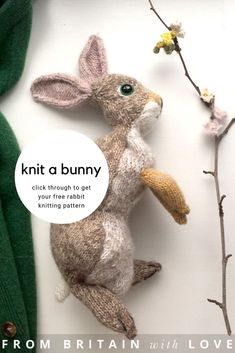 How to knit an easter bunny. Click through for easy step by step tutorial and free knitting pattern to make a knitted easter bunny rabbit. Click through to get tips and all the info you need to make your own Knitted Doll Patterns, Doll Patterns Free, Knitting Patterns Free, Free Knitting, Free Pattern, Free Rabbits, Knitted Bunnies, Etsy Handmade, Handmade Gifts