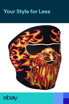 f9ebaf0355 Blazing Flames Eagle Orange on Black Neoprene Face Mask Patriotic Biker Ski  ATV. Motorcycle ...