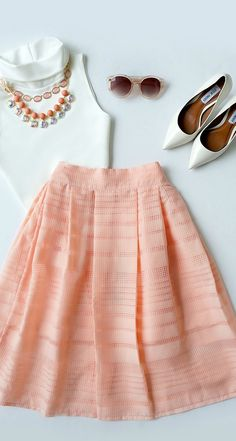 Mid Thought Peach Midi Skirt
