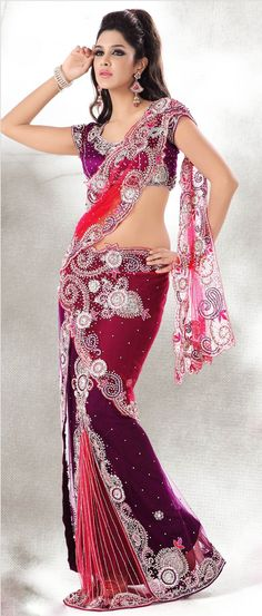 Fantastic World - Red and Purple Net Lehenga Style Saree With Blouse - Saree Styles Lehenga Style Saree, Lehenga Saree, Red Saree, Purple Saree, India Fashion, Fashion Week, Indian Dresses, Indian Outfits, Indian Clothes