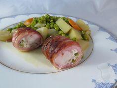 Râbles de lapin farcis aux olives vertes et légumes printaniers