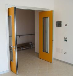 The Healthcare Roto 01 swing door reduces the space needed to accommodate the swing of a traditional hinged door. It enables multi directional swing-sliding movement through a unique and patented technology.    The Roto doors maximize the use of small spaces through the reduction of swing space. It offers a clean design solution that meets with ADA compliance in bathrooms, hotel environments, hospitals, and compact residential designs.