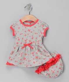 Take a look at this Heather Gray Ruffle Dress  amp  Diaper Cover by Hurley  on cafa8e10228b4