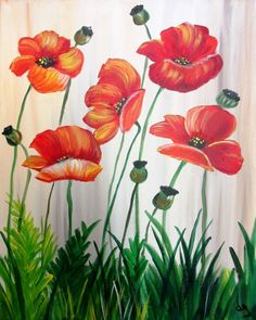 Dance of the Poppies Garden Fence Art, Garden Mural, Realistic Flower Drawing, Painted Window Art, Wood Painting Art, Mural Wall Art, Seascape Paintings, Beautiful Paintings, Watercolor Flowers