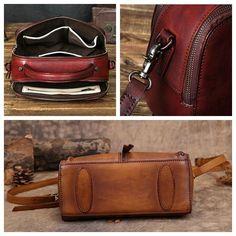 Handmade Vintage Vegetable Tanned Leather Handbag Messenger Bag Shoulder Bag in Vintage Brown YS03