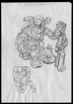 Drawing Note - 10 by Jong Hwan on ArtStation. Sketchbook Inspiration, Art Sketchbook, Comic Books Art, Comic Art, Cyberpunk Kunst, Science Fiction, Monochromatic Art, Robot Concept Art, Futuristic Art