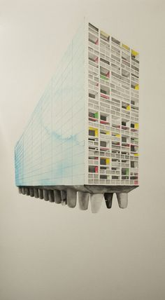 Glenn Walls, The Grid. Le Corbusier, Unite d'Habitation 1946– 52 Vs Superstudio. Ink on paper. 2012