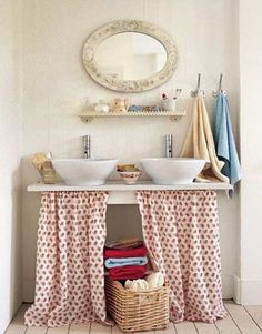 Curtains are a great way to add much needed storage underneath the sink as well as instantly brightening your bathroom.