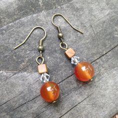 Orange Carnelian Crystal and Agate Earrings by TripIntoLight, $8.00