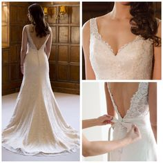 Augusta Jones Nicola. Elegant Vintage Lace wedding dress with straps 2015 2016 with low v back and wide v plunging front