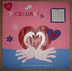 Valentine Handprint Swans for February ~ Handprint Calendar 2