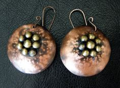Copper dangle earrings with brass granules organic rustic earrings traditional earrings industrial jewelry. Dangle earings. Free shipping